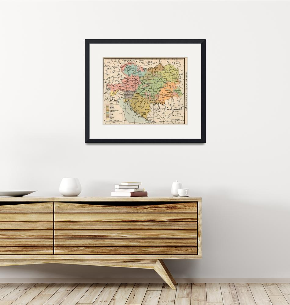 """Vintage Map of Austria and Hungary (1911)""  by Alleycatshirts"