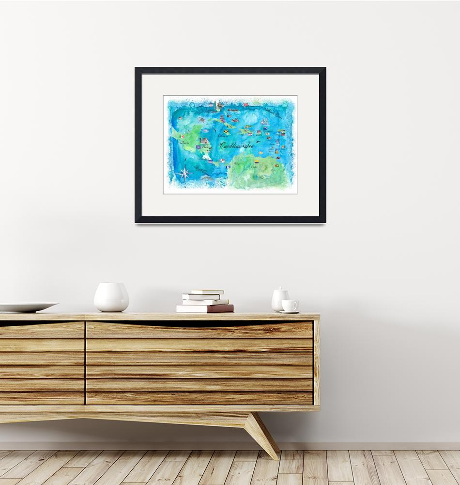"""""""Caribbean Cruise Travel Poster Map Antilles & Co.""""  (2018) by arthop77"""