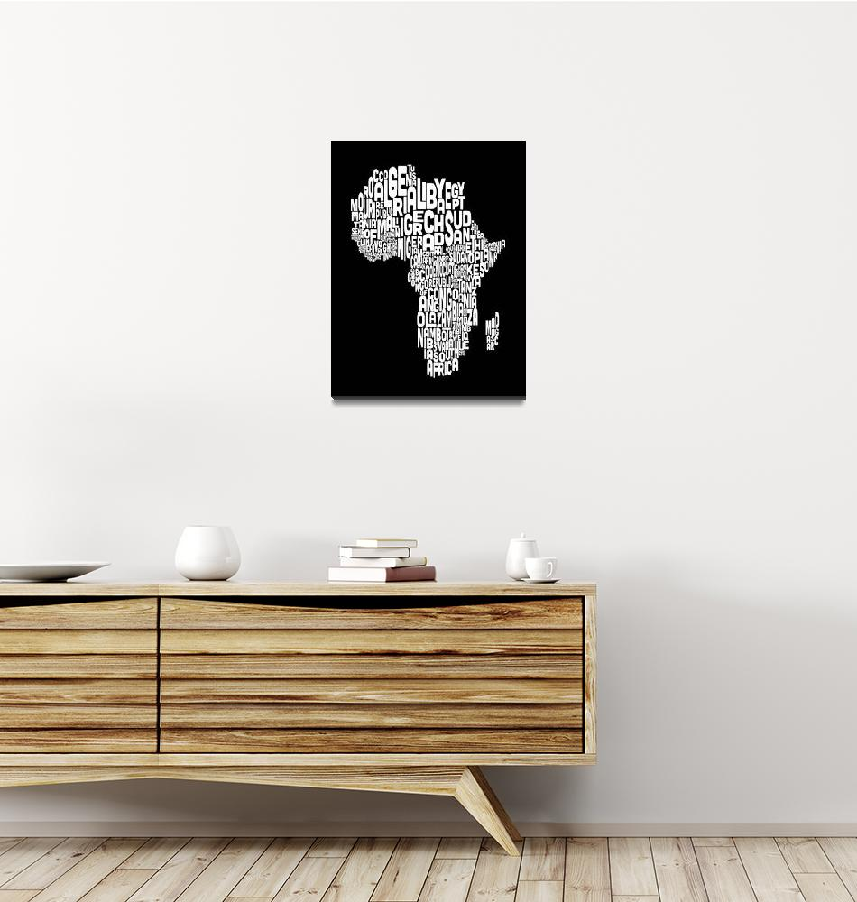 """""""Typography Text Map of Africa Map""""  (2012) by ModernArtPrints"""