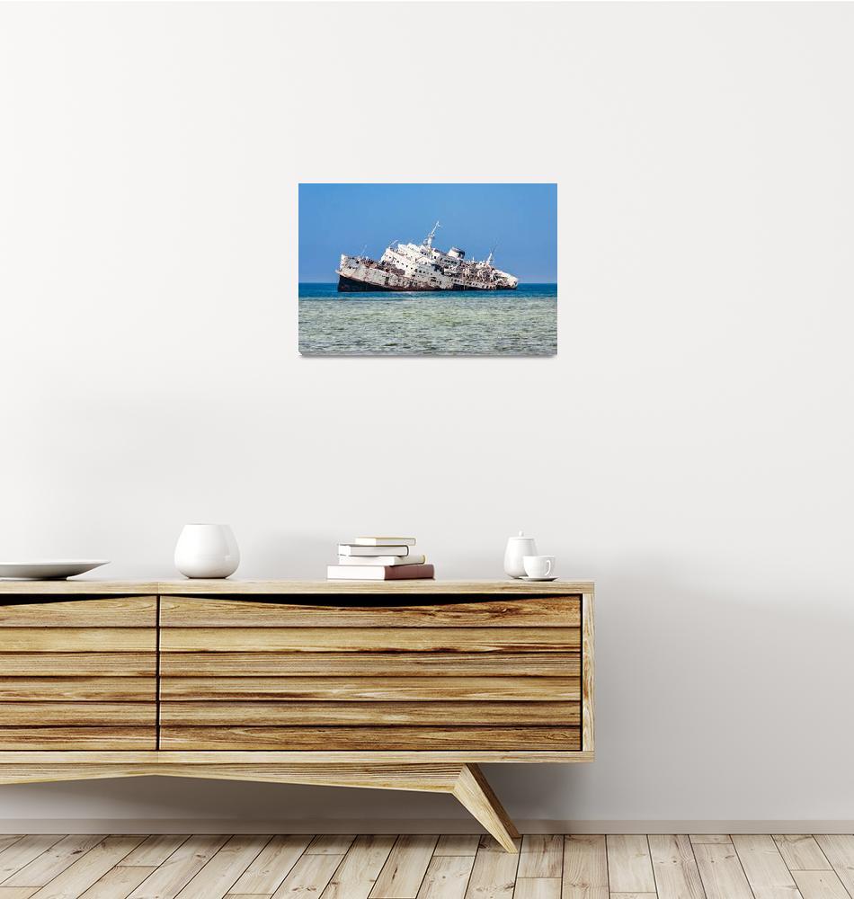 """The shipwreck on the Shoaiba Beach""  (2019) by vdvornyk"