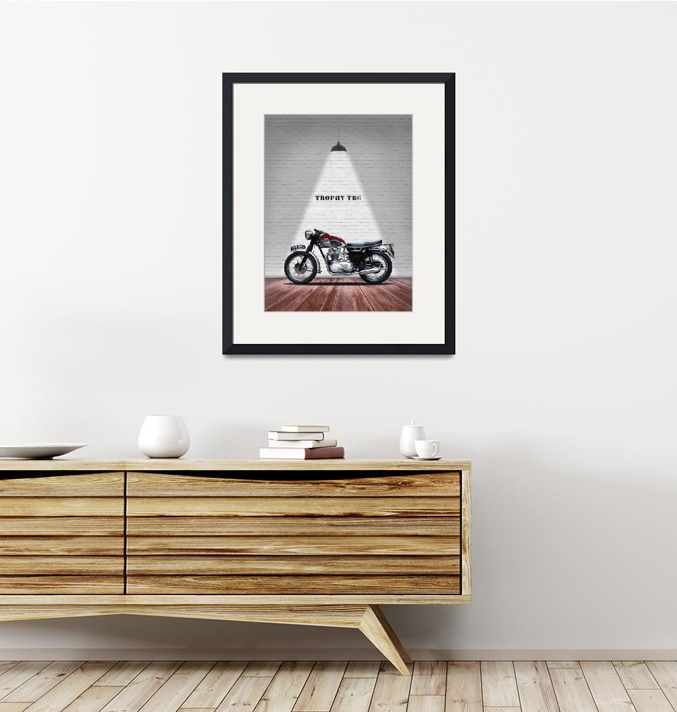 """""""The Trophy TR6R Vintage Motorcycle""""  by mark-rogan"""
