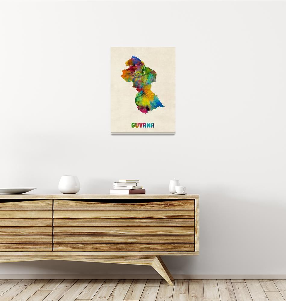 """Guyana Watercolor Map""  (2014) by ModernArtPrints"