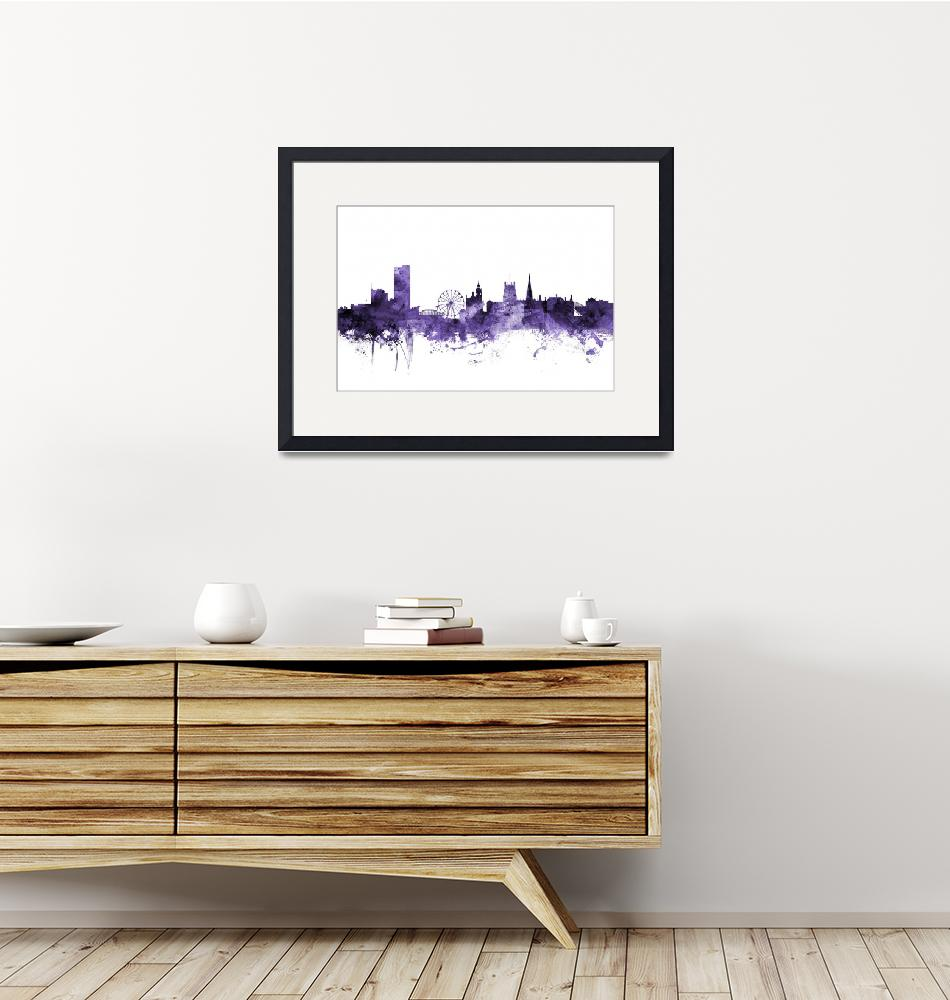 """Sheffield England Skyline""  (2018) by ModernArtPrints"