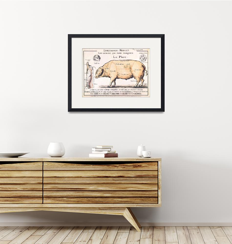"""""""Cuts of Pork, illustration from a French Domestic""""  by fineartmasters"""