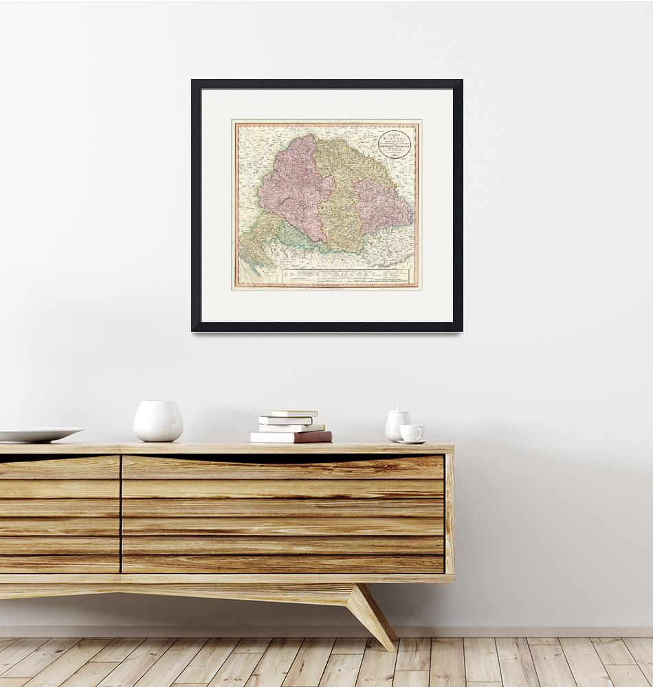 """Vintage Map of Hungary (1799)""  by Alleycatshirts"