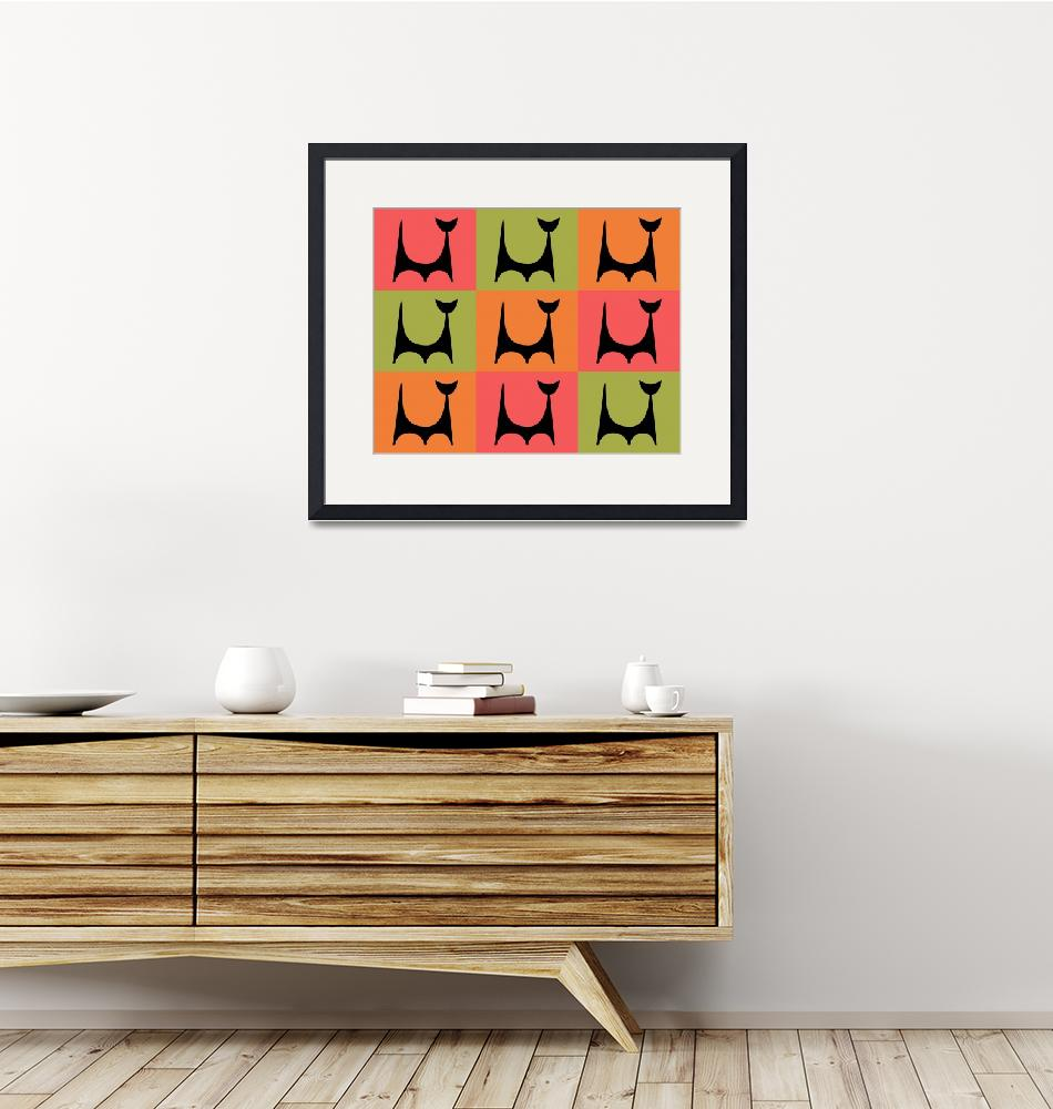"""Abstract Cat 2 pink orange green""  by DMibus"