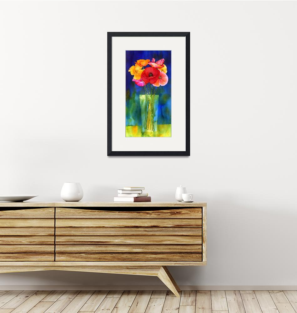 """Poppies in Vase""  by HaileyWatermedia"