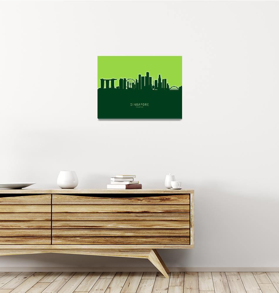 """Singapore Skyline""  (2020) by ModernArtPrints"