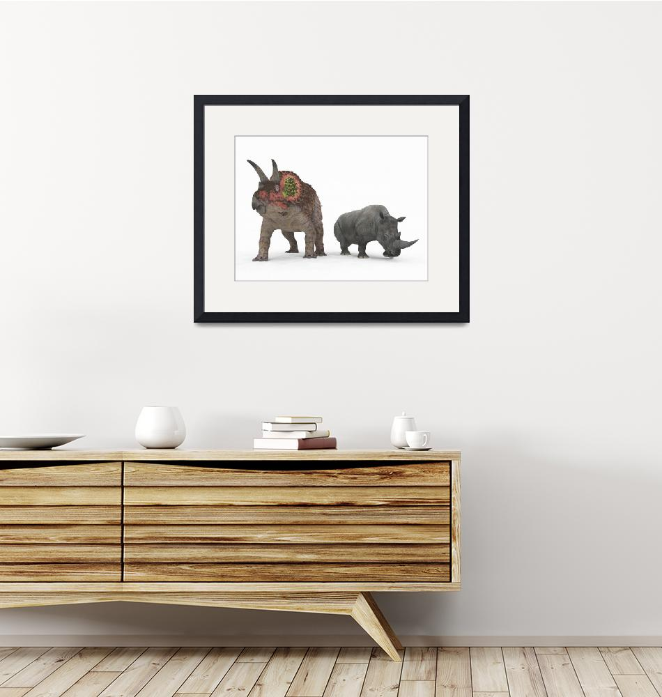 """""""An adult Triceratops compared to a modern adult Wh""""  by stocktrekimages"""