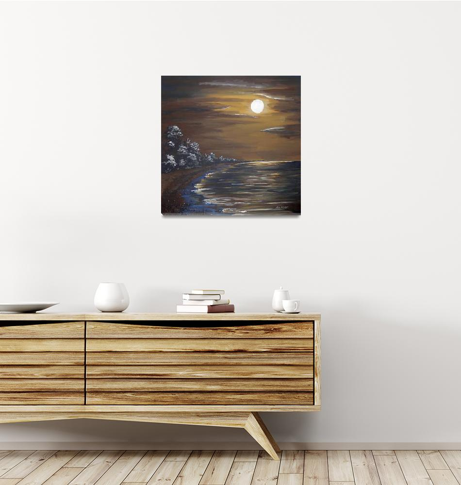 """""""MOON OVER POINT PELEE""""  (2009) by RuthDriedger"""