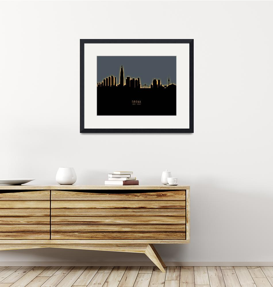"""Seoul Skyline South Korea""  (2019) by ModernArtPrints"