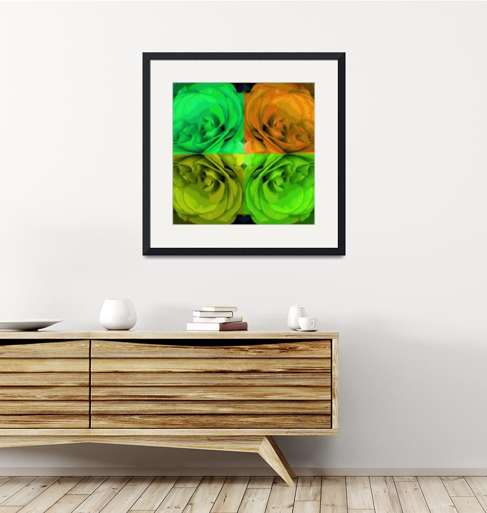 """Majid 4x4 Roses orange greens center rotated""  (2009) by LeslieTillmann"