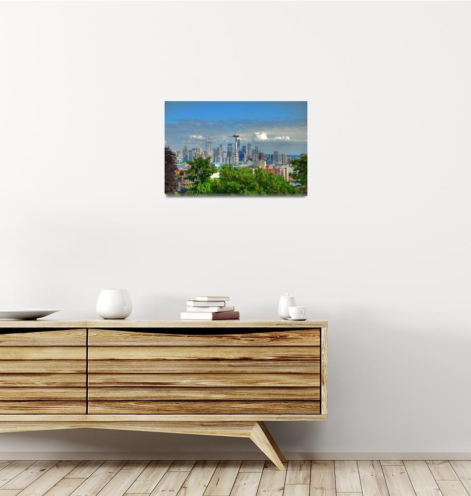 """""""Seattle Skyline""""  (2009) by Aalbertson"""