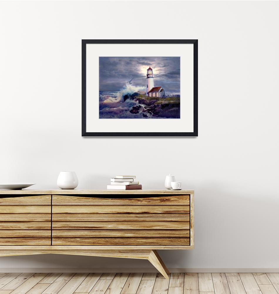 """""""Lighthouse on Rocky Shores""""  by Unique_designs"""