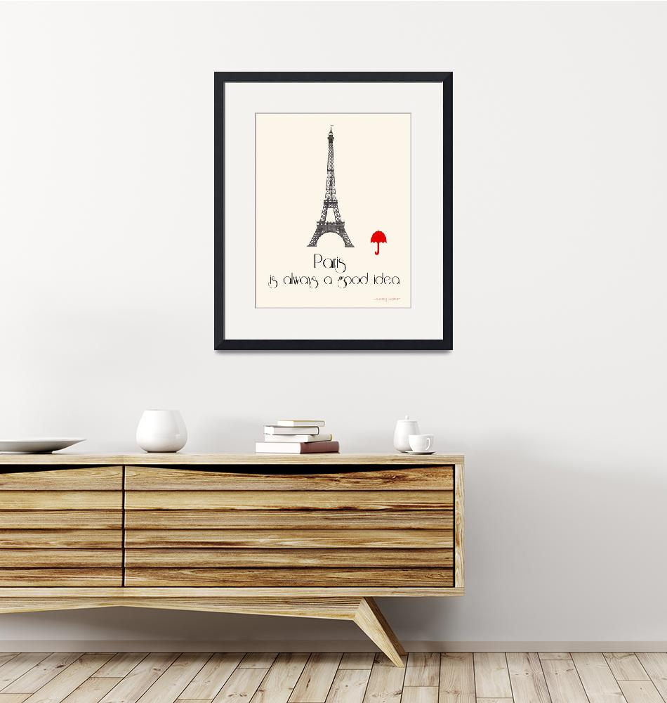 """""""Paris travel poster with Eiffel Tower""""  (2015) by TuesdayMoon"""