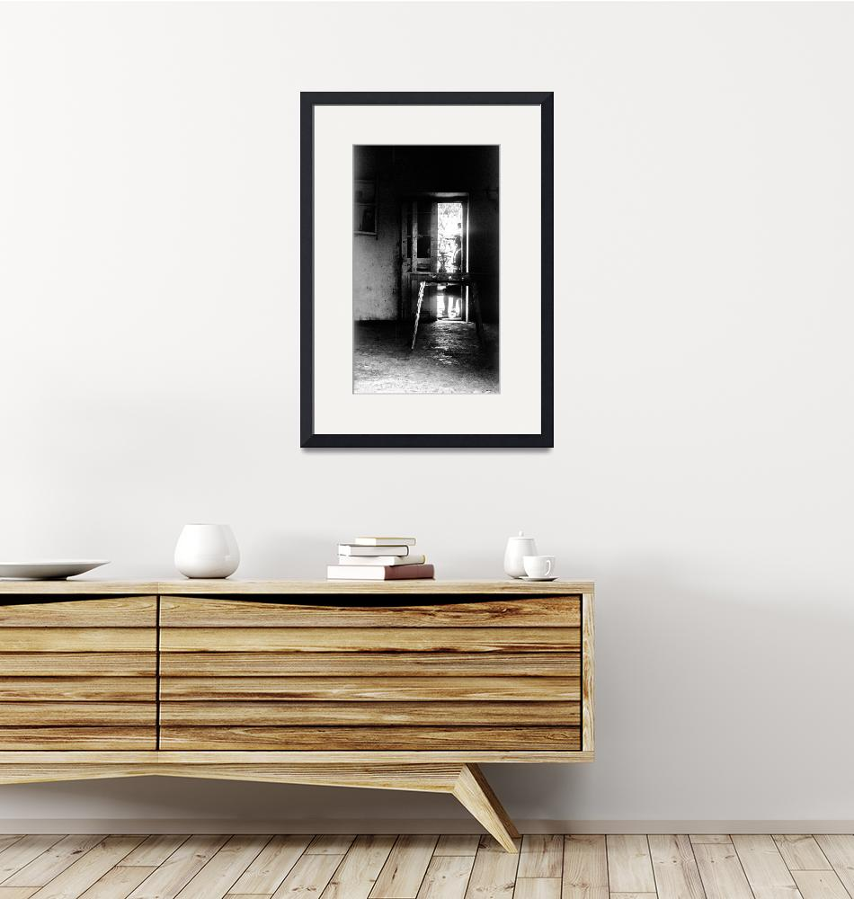 """""""Trough The Door: A Table And No Chairs. A Lamp B&W""""  (1988) by JoaoPonces"""