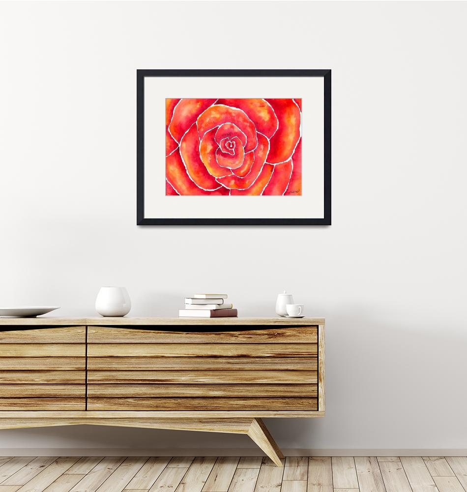 """""""Red-Orange Rose Watercolor""""  by foxvox"""