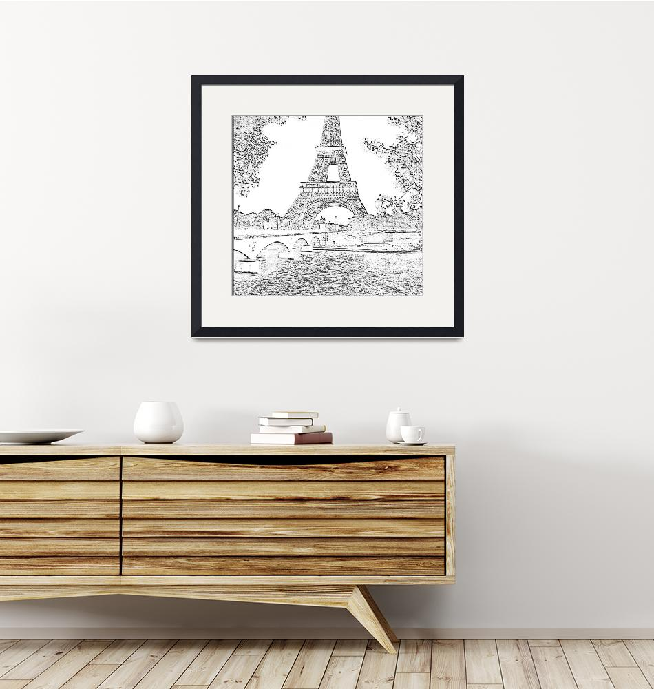 """""""Eiffel Tower Seine River Charcoal Cropped x 2""""  (2013) by TheNorthernTerritory"""