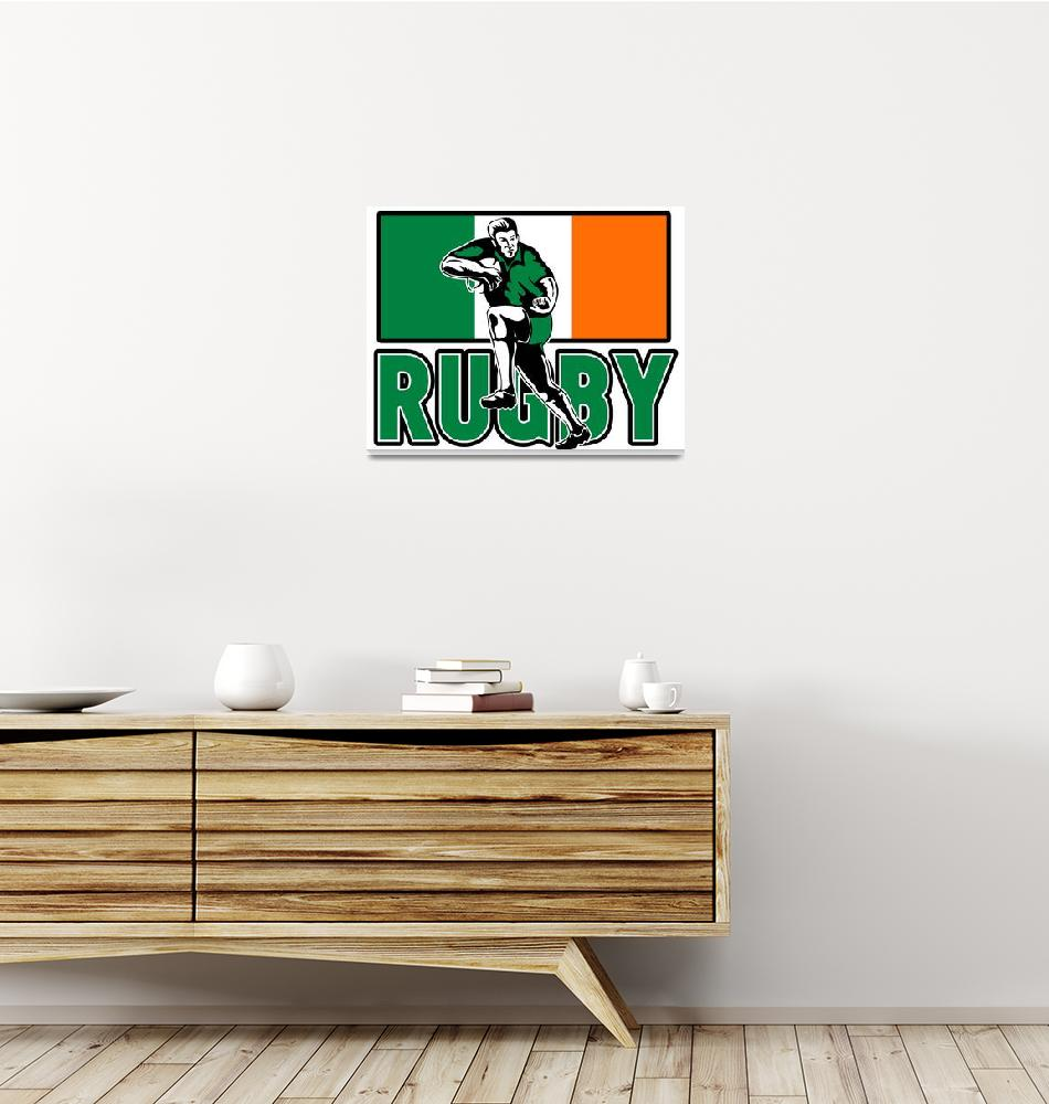 """rugby player fending off ireland flag""  (2013) by patrimonio"