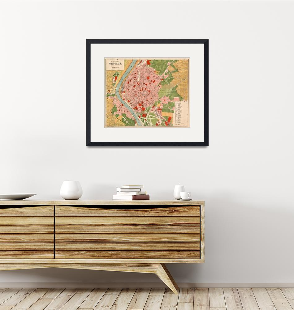 """""""Vintage Map of Seville Spain (1918)""""  by Alleycatshirts"""
