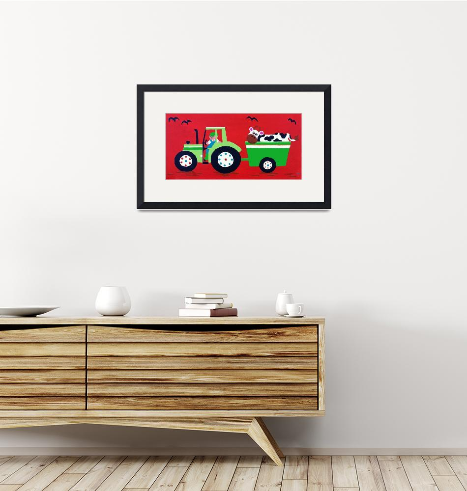 """""""Green Tractor on Red"""" (2012) by CharlotteBurr"""