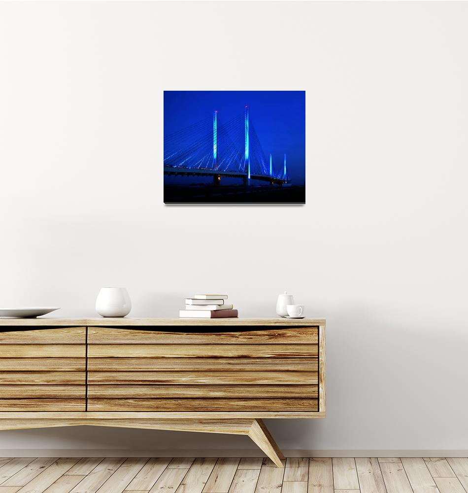 """""""Blue Indian River Inlet Bridge at Night""""  by travel"""
