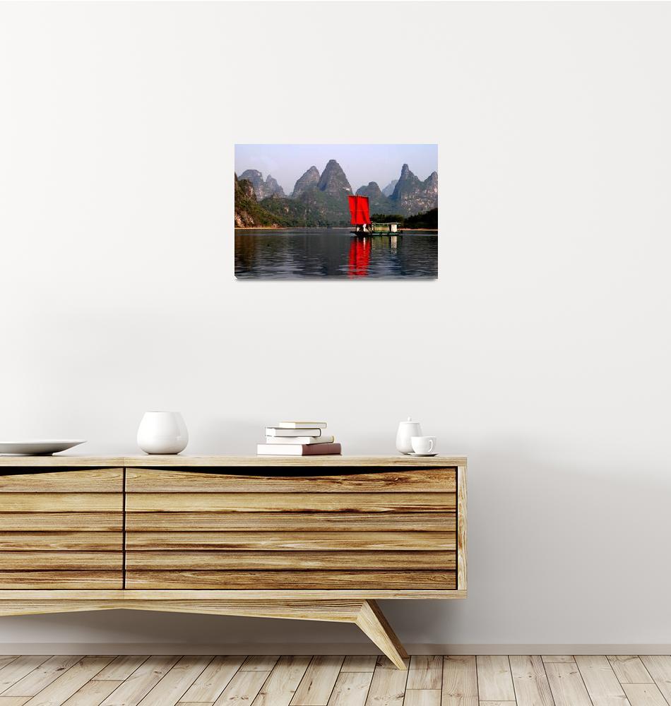 """RED Sail Fine Art , Li River China""  (2006) by Bozarth"