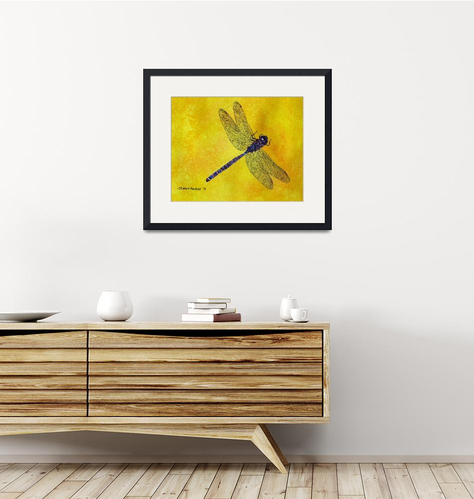 """Dragonfly on Yellow""  (2010) by PaintedPathWatercolors"
