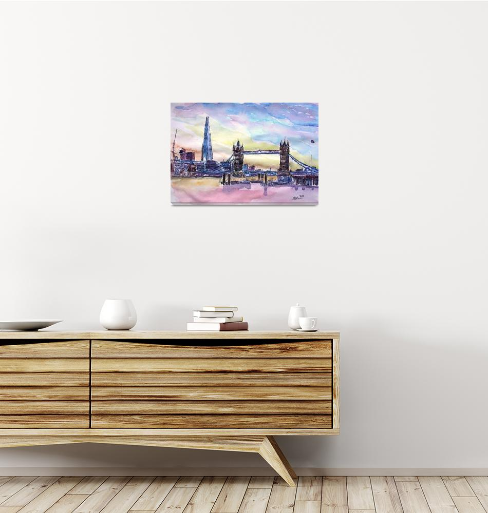"""London Tower Bridge With The Shard Watercolor Art""  (2015) by arthop77"