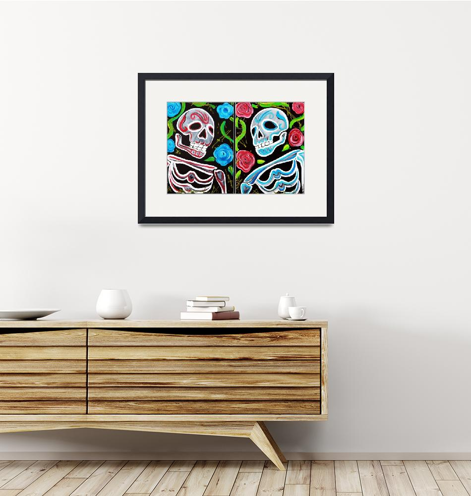 """""""Red and Blue Skulls and Roses""""  (2012) by ArtPrints"""