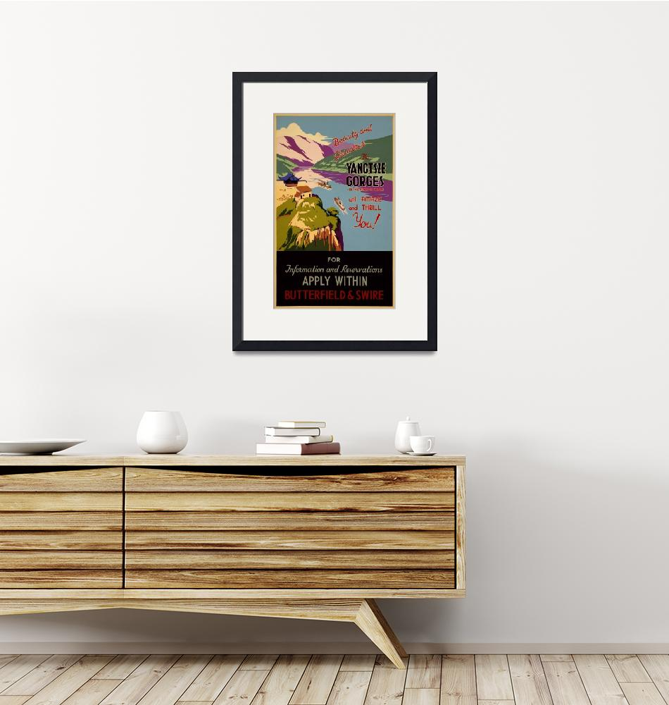 """""""Yangtsze Gorges, China Vintage Travel Poster""""  by FineArtClassics"""