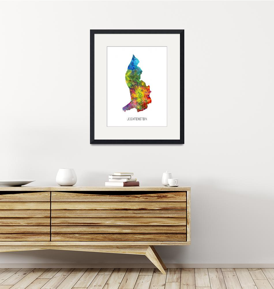 """Liechtenstein Watercolor Map""  (2019) by ModernArtPrints"
