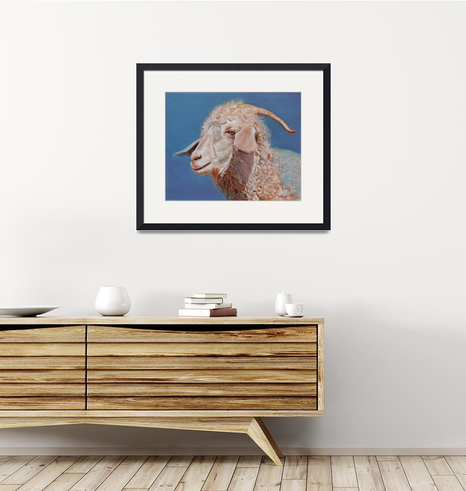 """Original oil painting Angora goat""  (2020) by yuezeng"