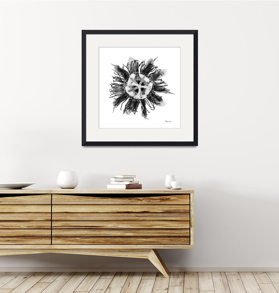 """""""Expressive Passion Flower in Greyscale 50674G""""  (2018) by Ricardos"""