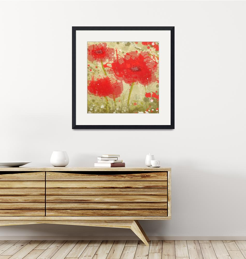 """""""Abstract Red Poppy trio""""  by Aneri"""
