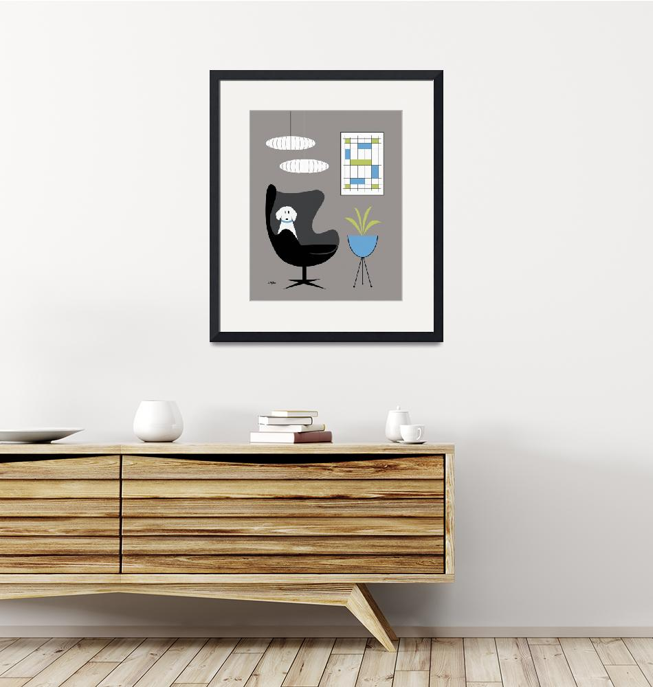 """""""Black Egg Chair with Dog""""  (2017) by DMibus"""