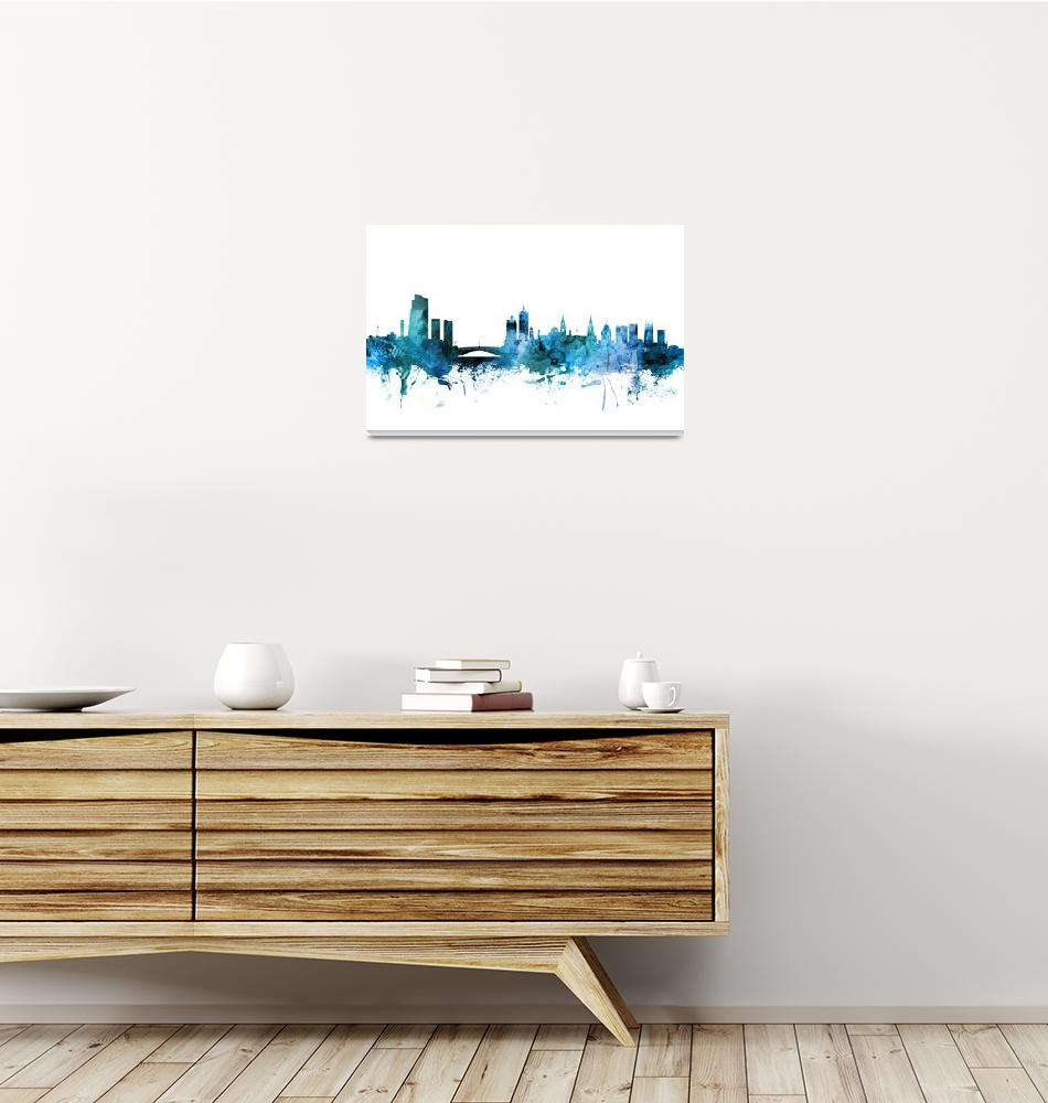 """Leeds England Skyline""  (2018) by ModernArtPrints"