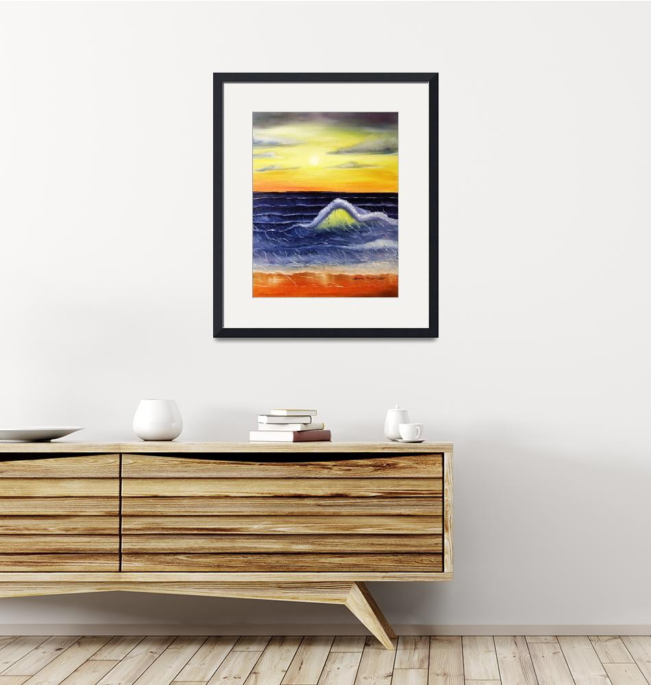"""""""Seascape Waves Sunset""""  (2008) by BarbaraPelizzoli"""