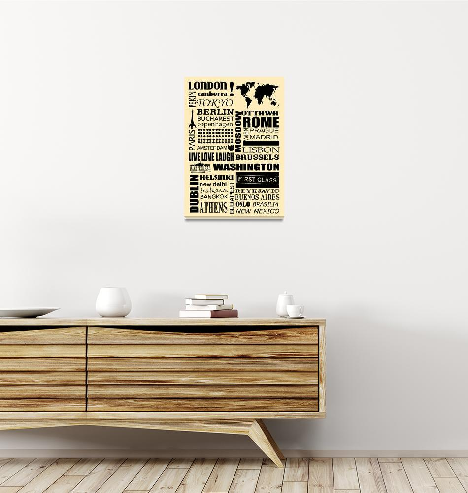 """""""World capitals retro poster""""  (2011) by HelloToYouAll"""