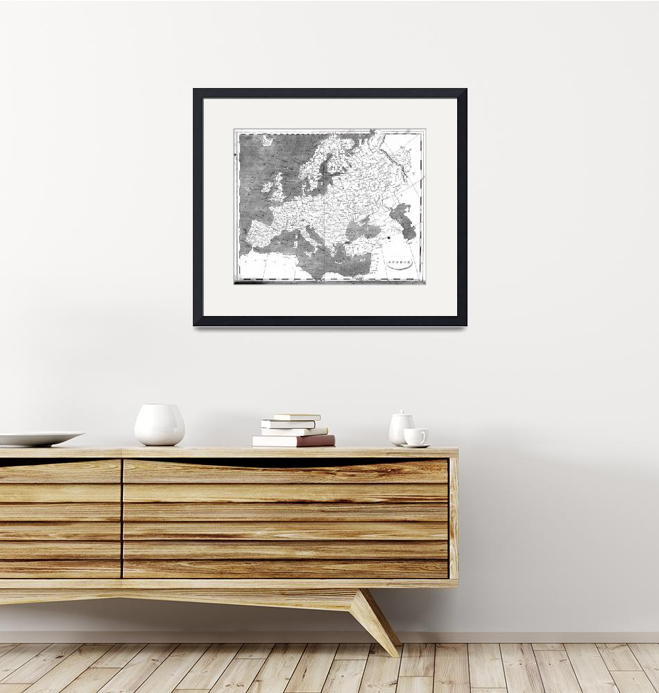 """""""Vintage Map of Europe (1804) BW""""  by Alleycatshirts"""