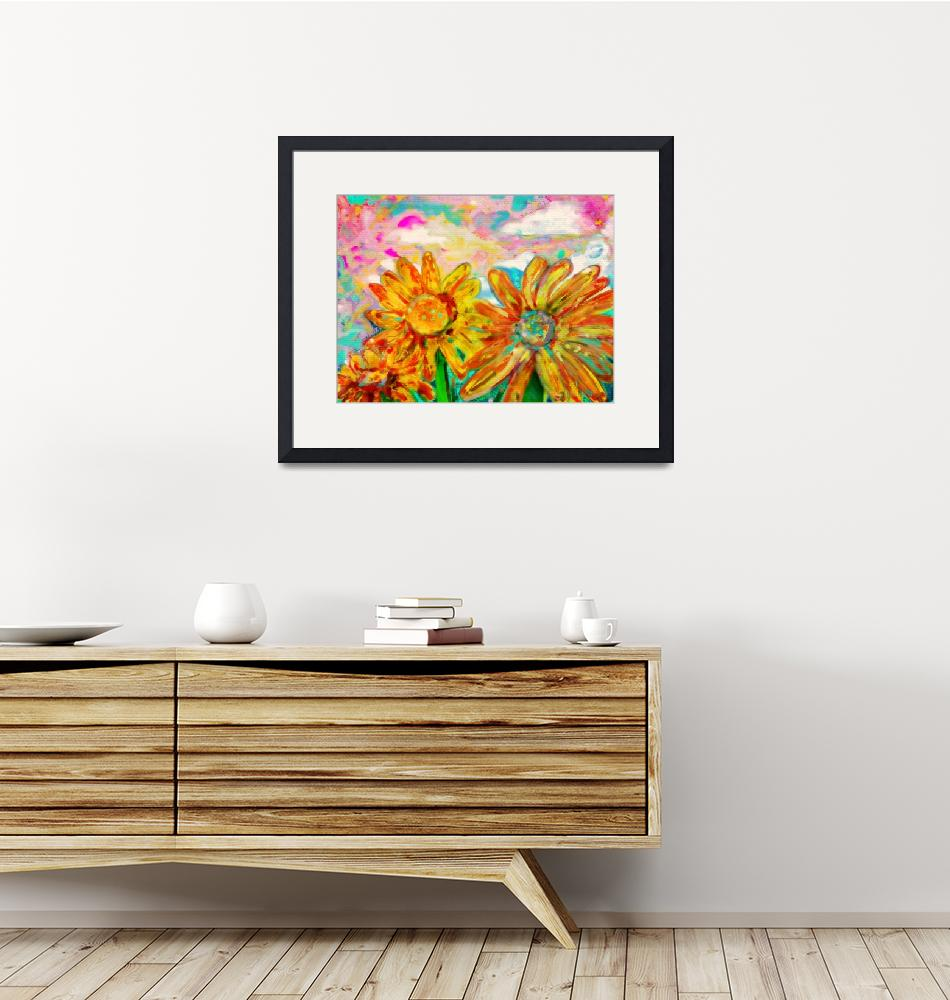 """""""Colorful Sunflowers""""  (2012) by Tanya_Dawn_Art"""