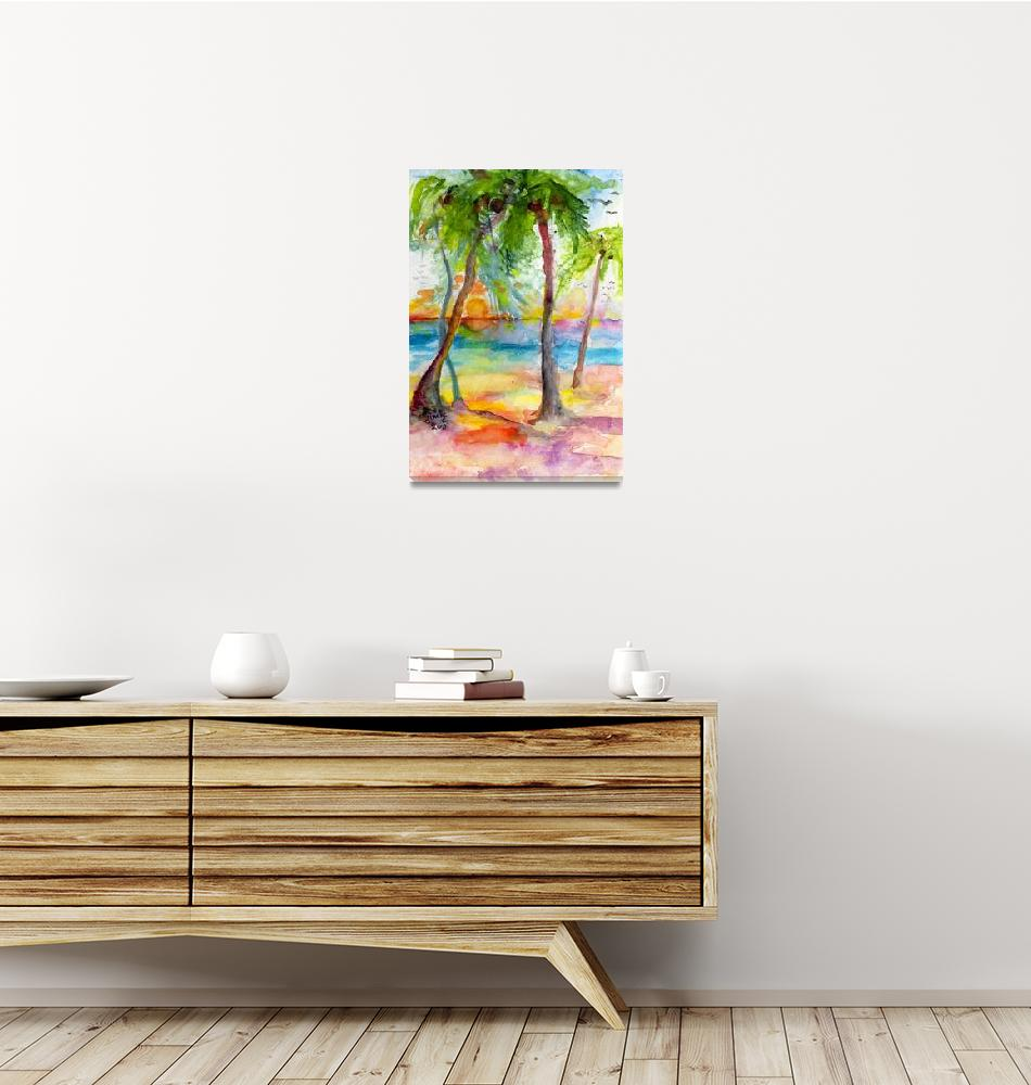 """""""Pink Sands and Palms Island Dreams Watercolor""""  (2012) by GinetteCallaway"""