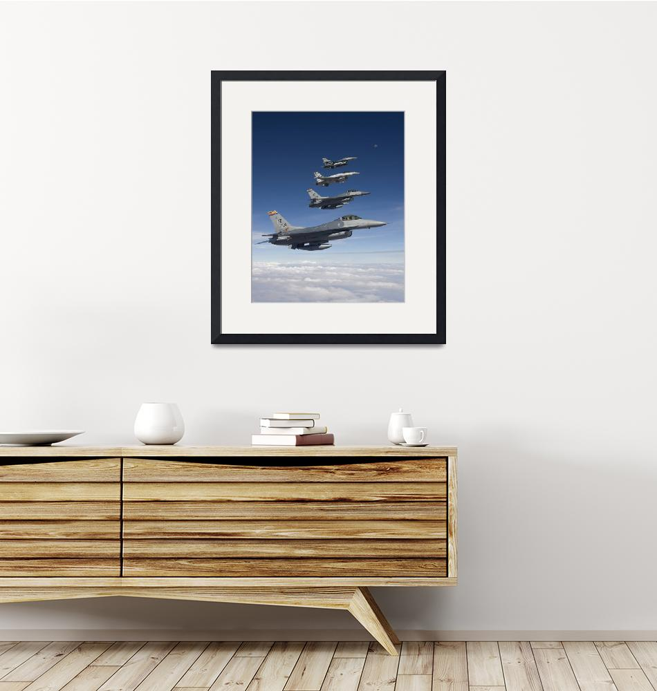 """""""Four F-16s fly in formation during a training miss""""  by stocktrekimages"""
