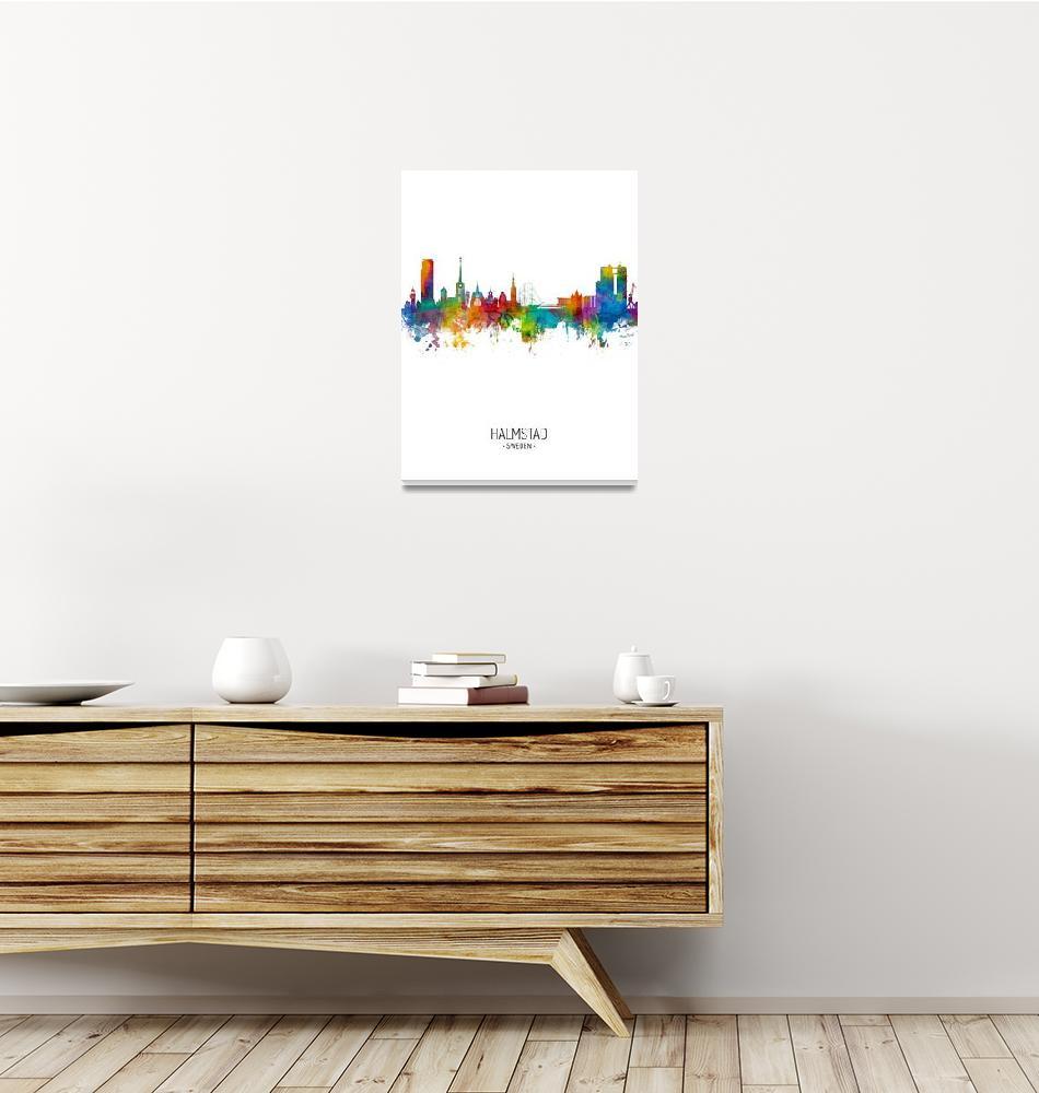 """Halmstad Sweden Skyline""  (2018) by ModernArtPrints"