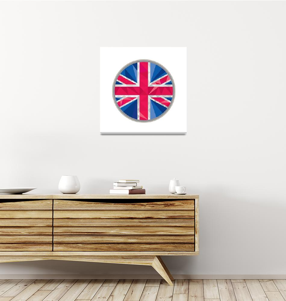 """Union Jack UK GB Flag Circle Low Polygon""  (2015) by patrimonio"