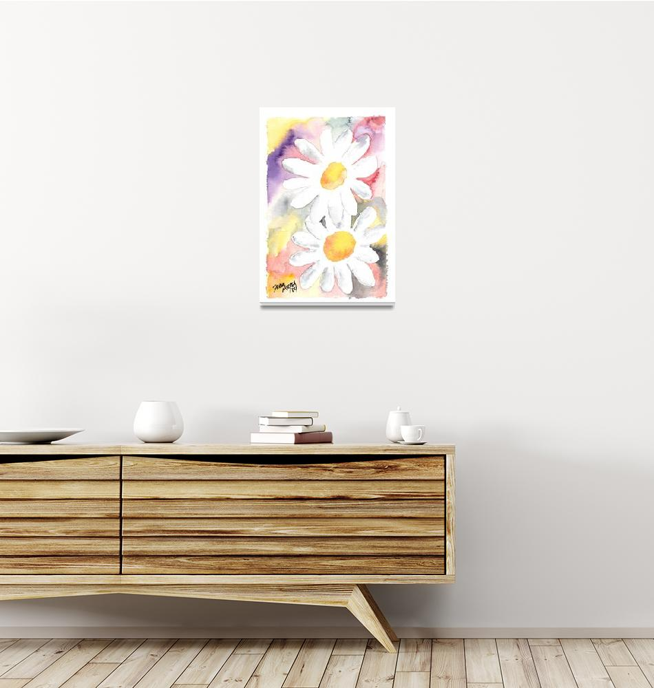 """Daisy flower painting""  (2004) by derekmccrea"