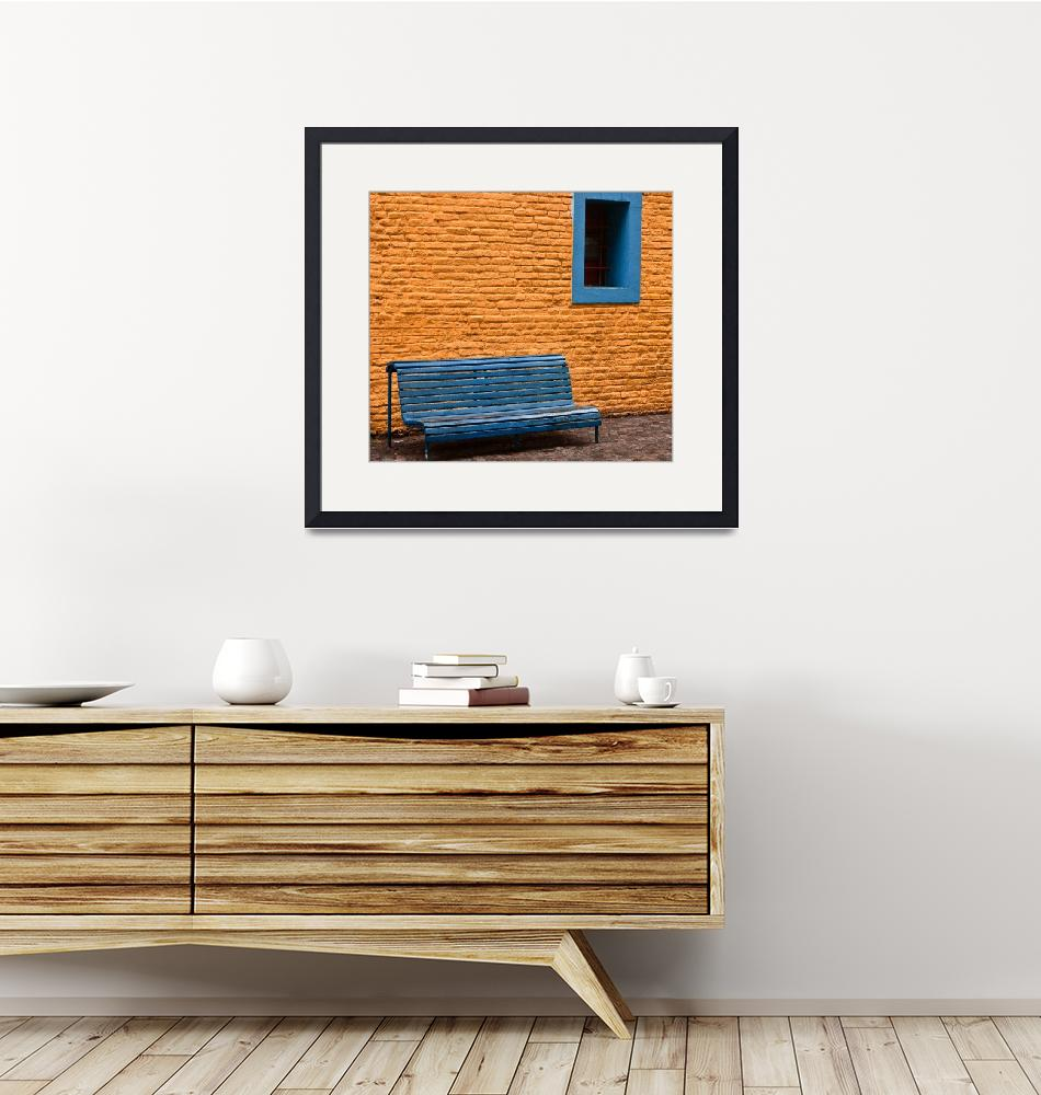 """""""Orange Wall, Blue Bench- Buenos Aires, Argentina""""  (2011) by mjphoto-graphics"""