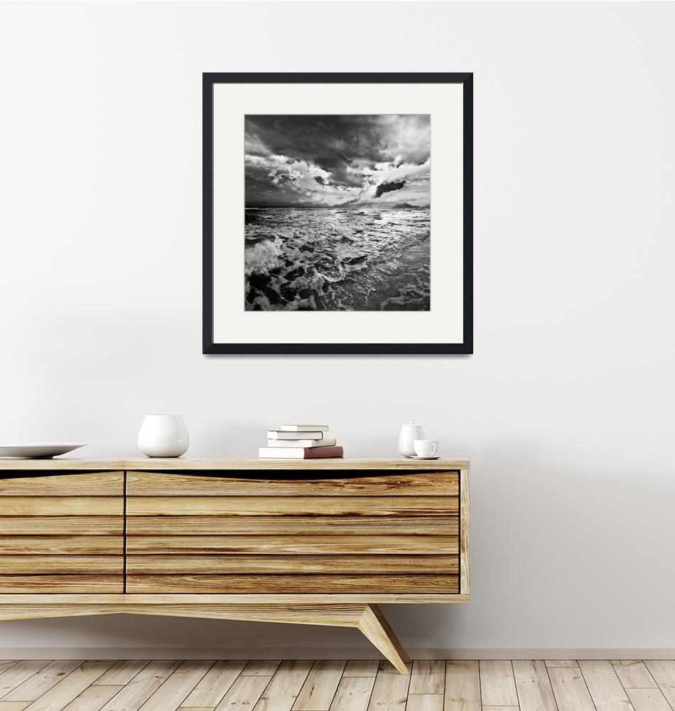 """Black and White Photo-Sea Waves Crashing on Shore""  (2014) by eszra"
