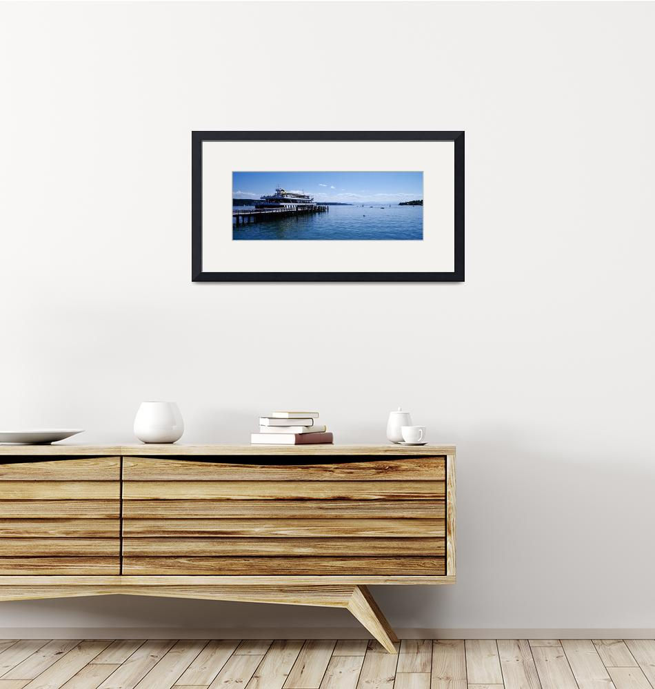 """""""Ship near a jetty in a lake Lake Starnberg Starnb""""  by Panoramic_Images"""