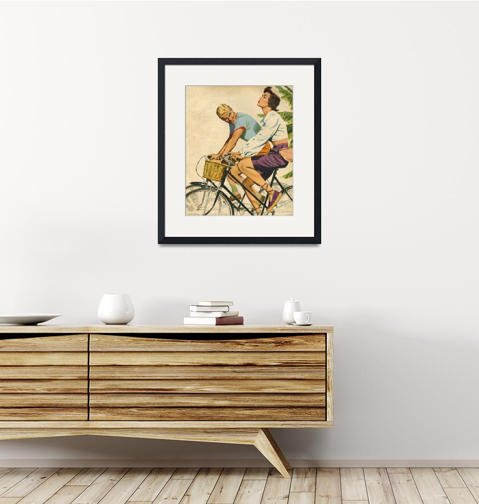 """""""Illustration from magazine 1952 - Couple on a bike""""  by fineartmasters"""